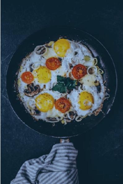 Ontbijt recept met ei | Gebakken ei met prei, tomaat, kaas en kastanjechampignons.